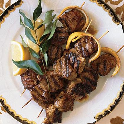 Yogurt-Marinated Lamb Kebabs With Lemon Butter