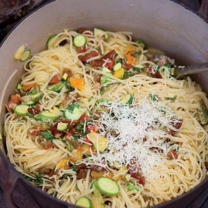 Linguine with Tomatoes, Baby Zucchini and HerbsRecipe