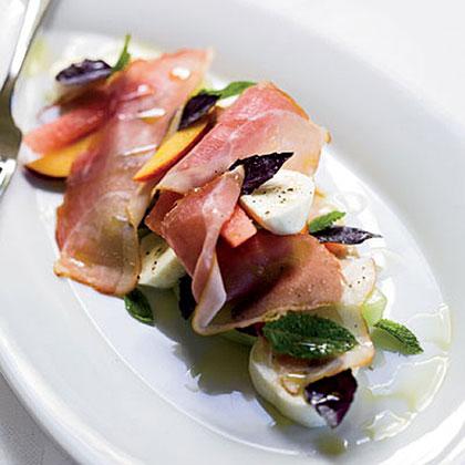 Melon-and-Peach Salad with Prosciutto and Mozzarella Recipe