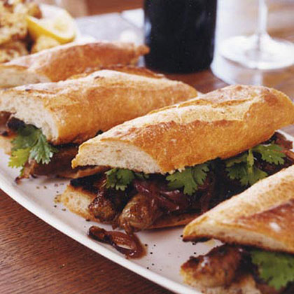 Grilled Merguez Sandwiches with Caramelized Red Onions Recipe