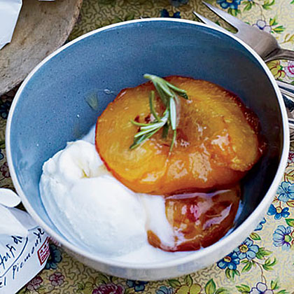 Roasted Peaches with Mascarpone Ice Cream Recipe