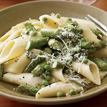 Penne with Asparagus, Sage and Peas