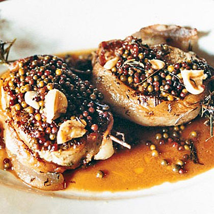 Pan-Seared Pork Chops with Green Peppercorn Sauce