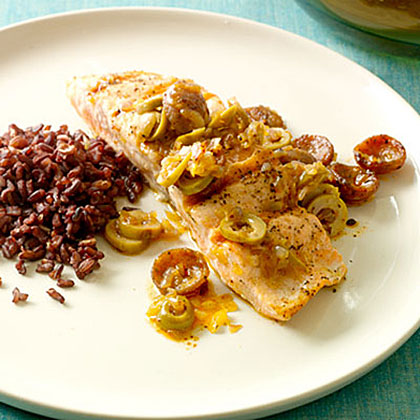 Salmon with Andouille Sausage and Green Olives