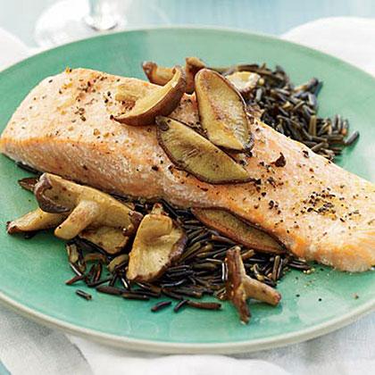 Salmon with Shiitake and Red Wine Sauce Recipe | MyRecipes