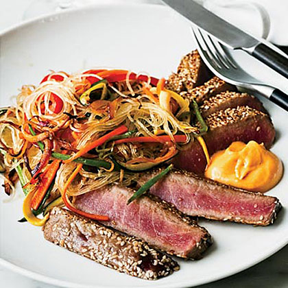 Sesame-Crusted Tuna with Ginger Cream Recipe