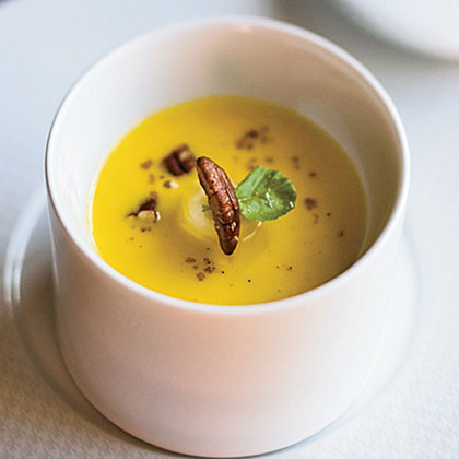 Roasted Squash Soup with Maple-Glazed Bananas