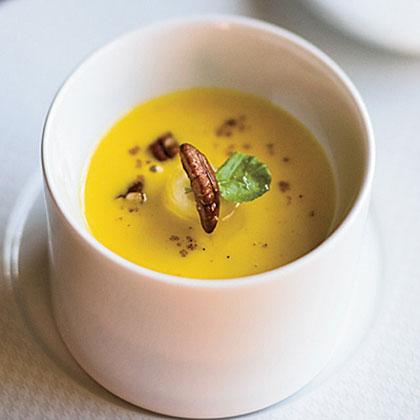 Roasted Squash Soup with Maple-Glazed Bananas