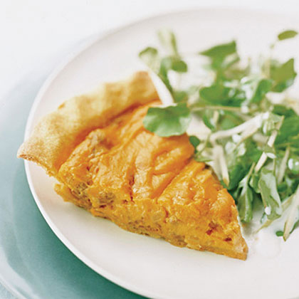 Andouille–and–Sweet Potato Pie with Tangy Apple Salad Recipe