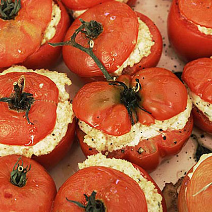 Oven-Roasted Tomatoes Stuffed with Goat Cheese Recipe | MyRecipes.com
