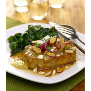 Almond Board Honey-Braised Pork Chops with Pears, Red Onion, Feta and Almonds Recipes