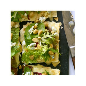 Almond Board Lavash Pizza with a Salad of Greens, Gorgonzola and Toasted Almonds Recipes