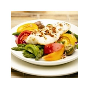 Almond Board Grilled Fish with Heirloom Tomato, Asparagus & Almond Salad Recipes
