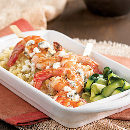 Herb-Grilled Shrimp Skewers with Lemon-Herb Feta Recipe