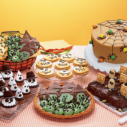Halloween Bake Shop MenuServe all things sweet this Halloween with cookies shaped like jack-o'-lanterns, witches, and eyeballs, a cake disguised as a graveyard, and skeleton and ghost cupcakes.