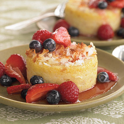 Coconut-Crusted Polenta Cakes with Triple Berry Sauce Recipe
