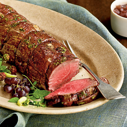 Herbed Beef Tenderloin with Two-Onion JusRecipe