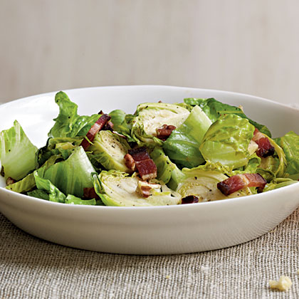 Brussels Sprouts Salad with Warm Bacon Vinaigrette
