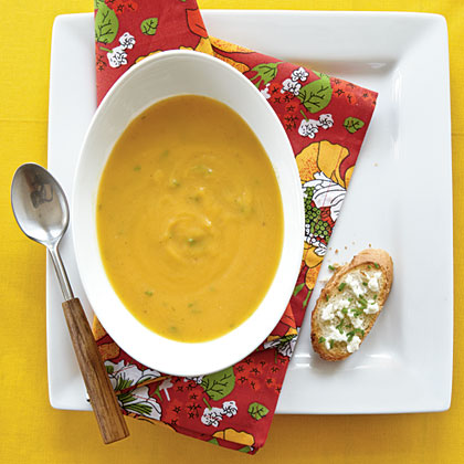 Roasted Butternut Soup with Goat Cheese Toasts Recipe
