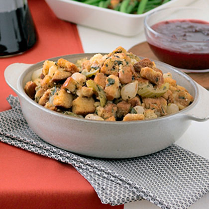 Pearl Onion and Celery Stuffing with Juniper and Garlic