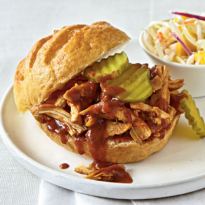 Black Pepper and Molasses Pulled Chicken Sandwiches