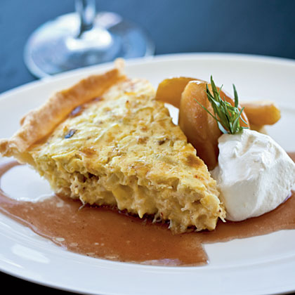 Dungeness Crab Pie with Braised Apples and Meyer Lemon Crème Fraîche Recipe