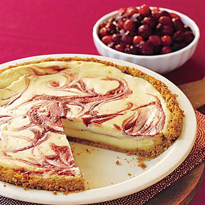 Cranberry Swirl Cheesecake Pie