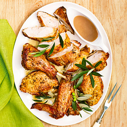 Grilled Butterflied Turkey with Rosemary Garlic Gravy
