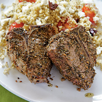 Lamb Chops with Olive CouscousRecipe