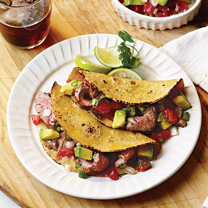 Carne Asada Tacos with Avocado and Pico de Gallo