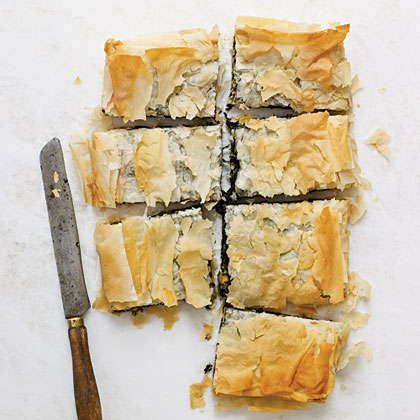 Spinach Pie with Goat Cheese, Raisins, and Pine NutsRecipe