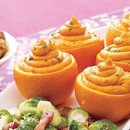 Sweet Potato Puree in Orange Shells