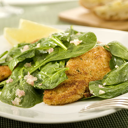 I Can't Believe It's Not Parmesan-Crusted Chicken & Spinach Salad Recipes
