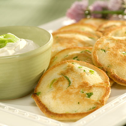 Savory Appetizer Pancakes with Garlic Sour Cream Recipes