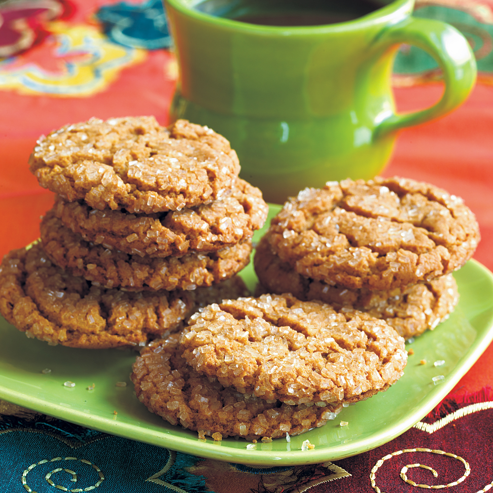 Molasses-Spice Crinkles RecipeThe strong, sweet flavor of molasses balances well with a team of spices in these soft, chewy cookies crusted with sugar.