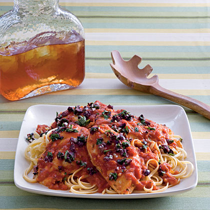 Braised Rosemary Chicken With Kalamata Olive Relish Recipe