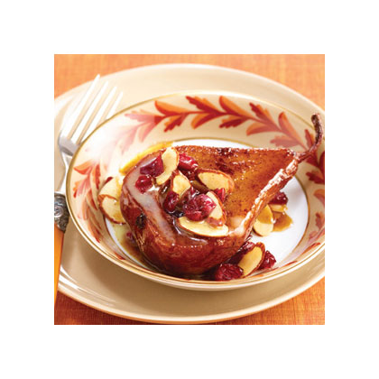 Baked Pears with Toasted Almonds, Cranberries, & White Chocolate Drizzle Recipes