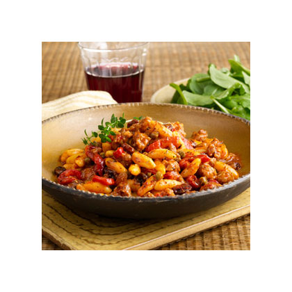 Cavatelli Pasta with Sweet Sausage, Roasted Peppers & Raisins Recipes