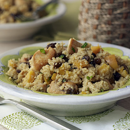 Chicken-Mint Couscous with Raisins and Apricots RecipeThis Moroccan-style one-dish meal gets its mint flavor from cooking the couscous in mint-flavored tea instead of adding fresh mint. But if you're not a fan of mint, just cook the couscous in water without the tea bags.