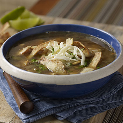 Chicken Tortilla Soup RecipeIt's hard to believe a soup with this much flavor simmers for only 20 minutes. And making the crisp tortilla strips for the topping is a great way to use up any extra corn tortillas you have on hand.