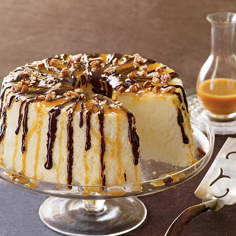 Chocolate-Caramel Angel Food Cake Recipe | MyRecipes