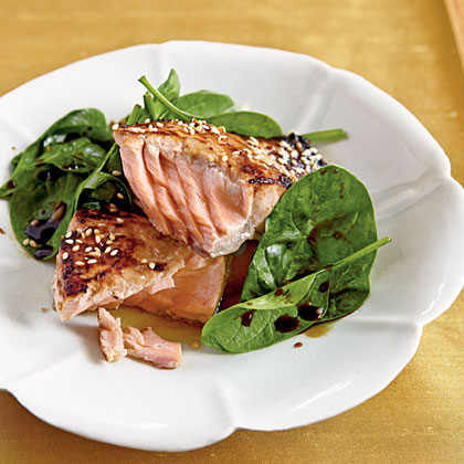 Miso-Glazed Salmon with Wilted Spinach Recipe | MyRecipes