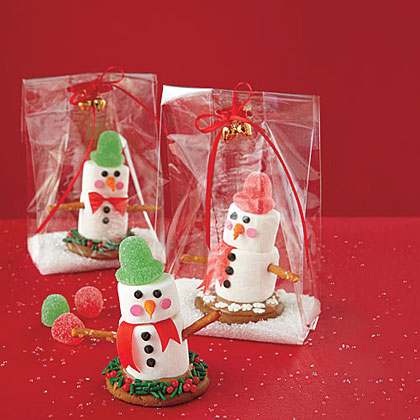 These super-cute snowmen (which rely on melted caramels and royal icing to stay together) are easy for little hands to help put together, and they're a great way to enjoy some family time during the holidays.  Wrap them up in a simple, clear plastic bag for teacher treats or for your children to give to their friends.Recipe: Marshmallow Snowmen