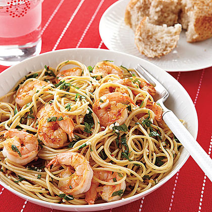 Shrimp Scampi over Whole-Wheat Spaghetti Recipe | MyRecipes.com