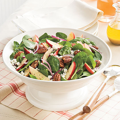 Spinach-Apple Salad With Maple-Cider Vinaigrette Recipe