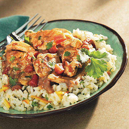 Quick Chicken Peanut Mole with Cilantro Rice Recipes Recipe