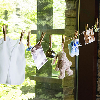 Since you only have an hour, plan party decorations you can put up quickly. Use a clothesline and clothespins to hang photos, baby bibs, socks, and other necessities the new mom will need; she can take them home after the party is over. Scan and print cherished family pictures to prevent damage to the originals. Get Martie's Tips!