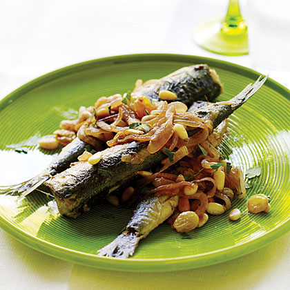 Pan-Fried Sardines with Sweet-and-Sour Onions, Pine Nuts, and Raisins Recipe