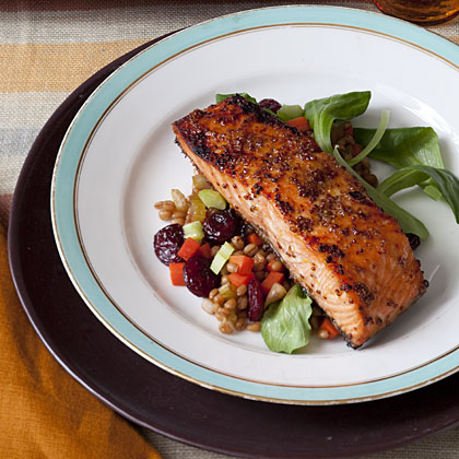 glazed-salmon-wheat-berries Recipe
