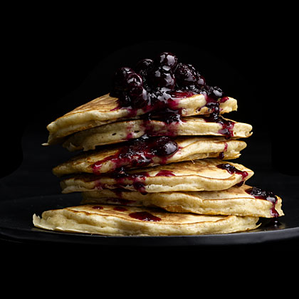 Oatmeal Pancakes with Wild Blueberry Sauce RecipeStack these pancakes high for a towering breakfast that's sure to be amazing. Topped with a wild blueberry sauce, these pancakes celebrate the best flavors of the season.